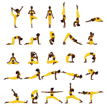 Set of yoga poses icon.