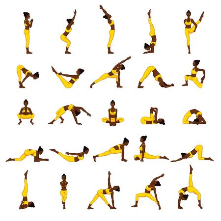 Women silhouettes. Collection of yoga poses. Asana set. Stock Vector - 87279343
