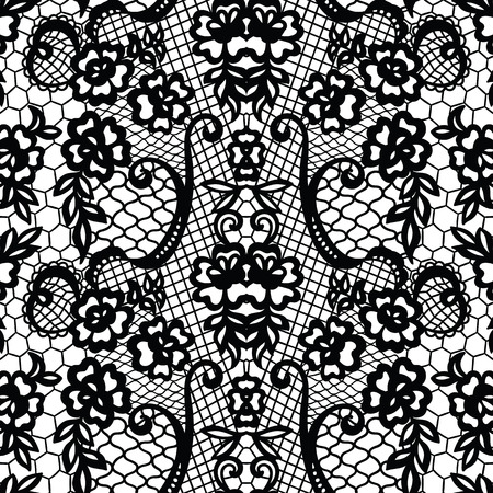 victorian wallpaper: Lace black pattern with flowers Illustration