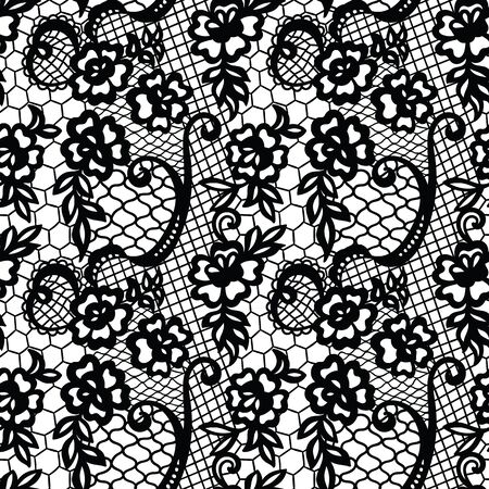 victorian wallpaper: Lace pattern with flowers Illustration