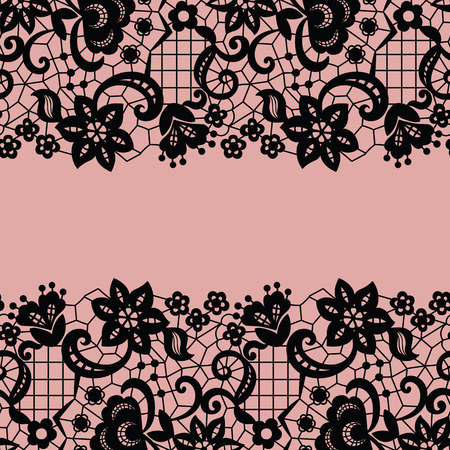 victorian wallpaper: Seamless lace border. Vector illustration. Black lacy vintage elegant trim. Illustration