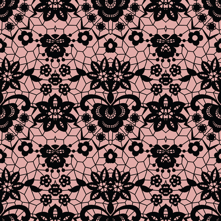 victorian wallpaper: Lace black seamless pattern Illustration