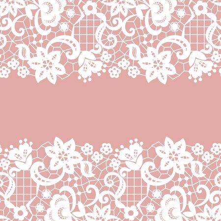 victorian wallpaper: Seamless lace border. Vector illustration. White lacy vintage elegant trim.