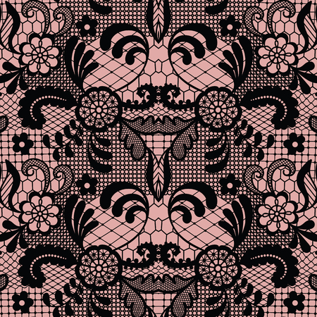 Lace black seamless pattern with flowers on beige background.
