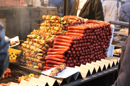 Barbecue on christmas market. Old Town, Prague, Czech Republic Photography Stock Photo