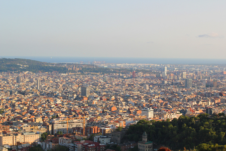 Skyline of Barcelona from park Guell, Spain 2016