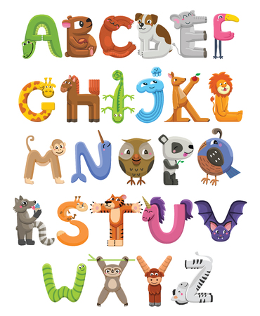 Zoo alphabet. Animal alphabet. Letters from A to Z. Cartoon cute animals isolated on white background Illustration