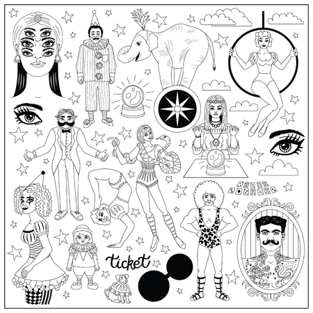 Vintage circus illustrations collection. Flash tattoes set. Lineart illustrations for adult coloring book.