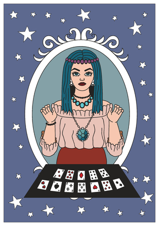 Psychic with her tarot cards. Vintage circus illustrations collection. Ilustração