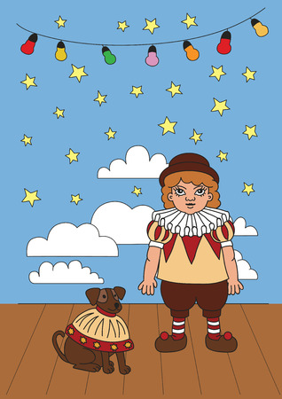 Vintage circus concept, illustration of boy and dog in stage.