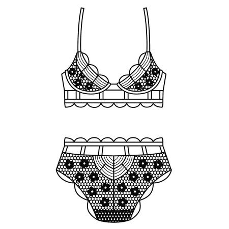 b2808d52fe Hand drawn lingerie. Panty and bra set. Vector illustration Stock Vector -  98670072