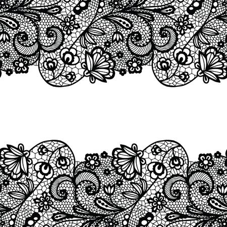 Seamless lace border. Vector illustration. Black lacy vintage elegant trim. Vectores