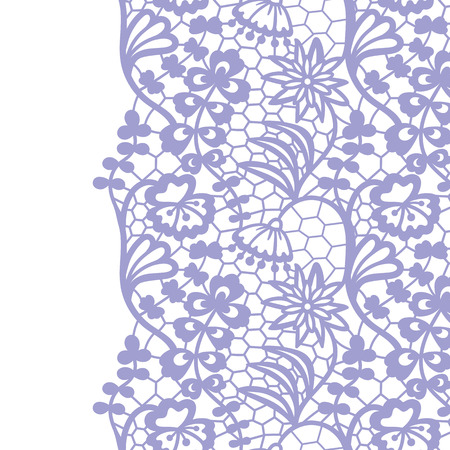 Seamless lace border. Vector illustration. Gentle lacy vintage elegant trim.