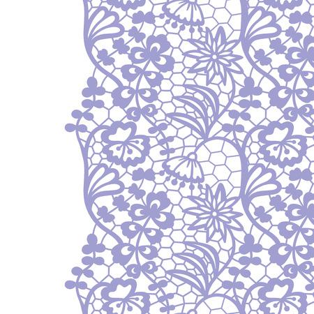 Seamless lace border. Vector illustration. Gentle lacy vintage elegant trim.