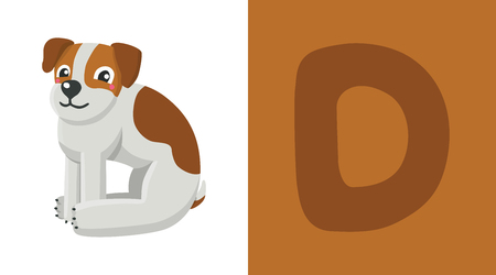Letter D and dog illustration. Stock Illustratie