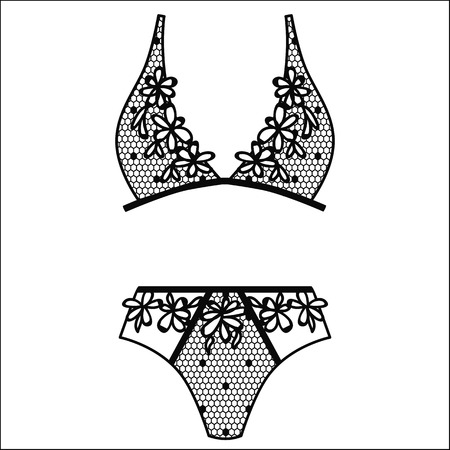 22da699589 Hand drawn lingerie of Panty and bra set.