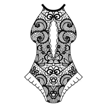 Body, Lacy lingerie illustration on white background.
