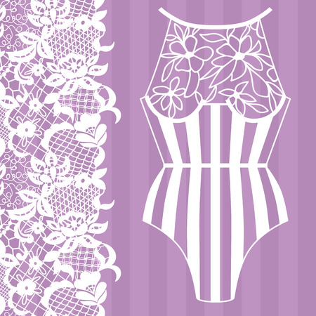 Body, Lacy lingerie illustration on purple background. Vettoriali