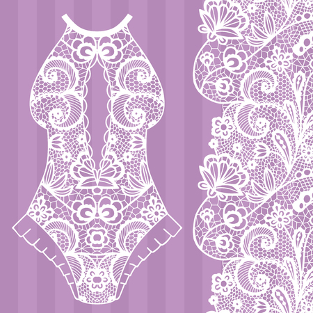 Body,  Lacy lingerie illustration on purple background..