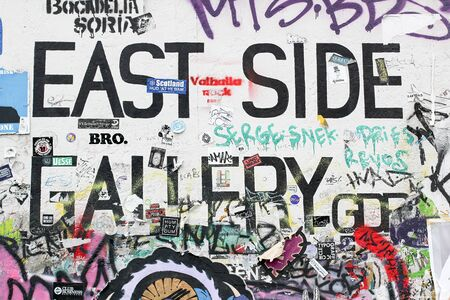 BERLIN, GERMANY - JUNE 2018: Graffiti and artworks at the East Side Gallery on June 02, 2018 in Berlin, Germany. East Side Gallery is an international memorial for freedom. Editorial