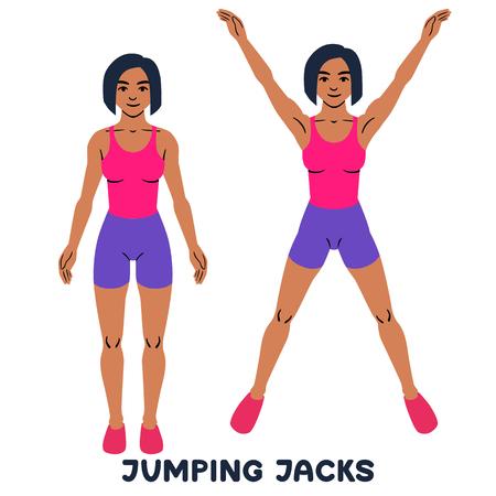 Jumping Jack. Exersice de sport. Silhouettes de femme faisant de l'exercice. Entraînement, formation.
