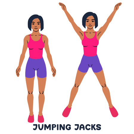 Jumping Jack. Sport exersice. Silhouettes of woman doing exercise. Workout, training. 矢量图像