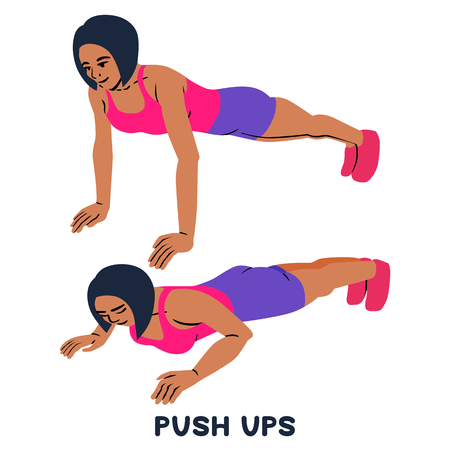 Push ups. Sport exersice. Silhouettes of woman doing exercise. Workout, training. 矢量图像