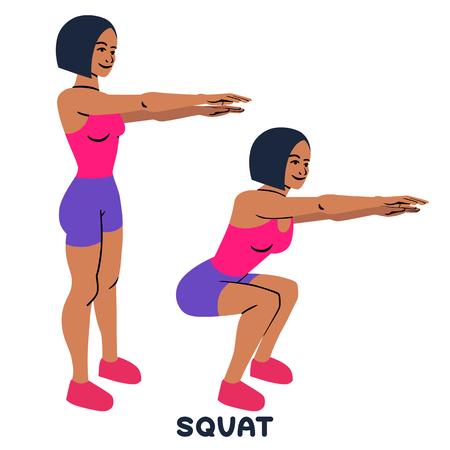 Ponerse en cuclillas. Ejercicio deportivo. Siluetas de mujer haciendo ejercicio. Entrenamiento, entrenamiento.