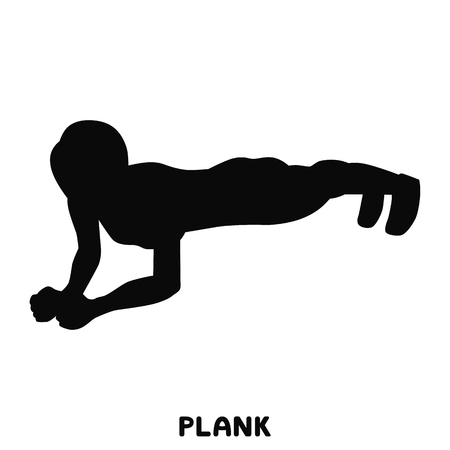 Push ups. Sport exersice. Silhouettes of woman doing exercise. Workout, training. Illustration