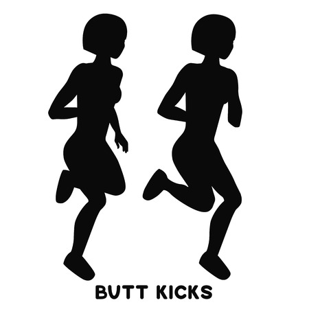 Butt kicks. Sport exersice. Silhouettes of woman doing exercise. Workout, training.