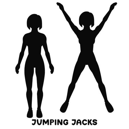 Jumping Jack. Esercizio sportivo. Sagome di donna che fa esercizio. Allenamento, allenamento.