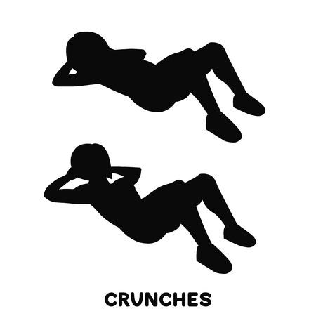 Abdominales. Ejercicio deportivo. Siluetas de mujer haciendo ejercicio. Entrenamiento, entrenamiento.