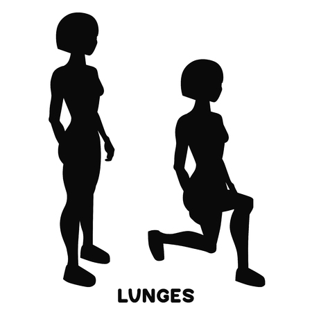 Lunges. Sport exersice. Silhouettes of woman doing exercise. Workout, training.
