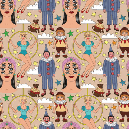 Cirque d'époque. Illustrations lineart pour livre de coloriage pour adultes. Artistes de cirque. Psychique, diseuse de bonne aventure, clown, artiste du spectacle, gymnaste, acrobate, trapéziste gymnaste aérien