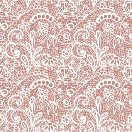 Gentle lace seamless pattern with flowers on white background Archivio Fotografico - 112369062