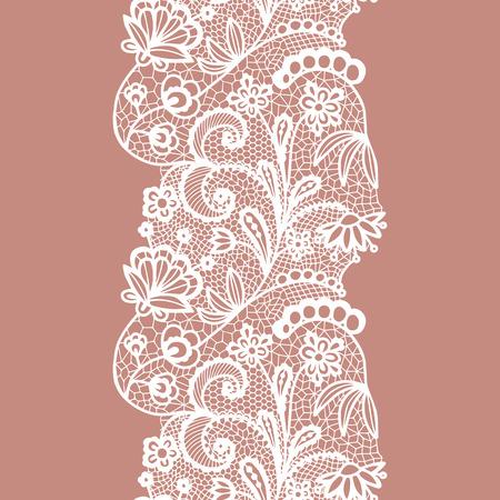 White lacy vintage elegant trim. Vector illustration.