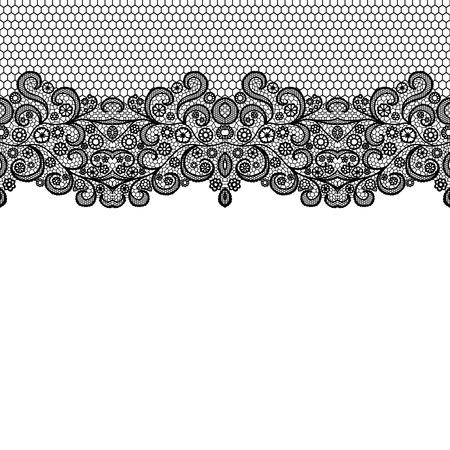 Seamless lace border. Vector illustration. Black lacy vintage elegant trim. Vector Illustration
