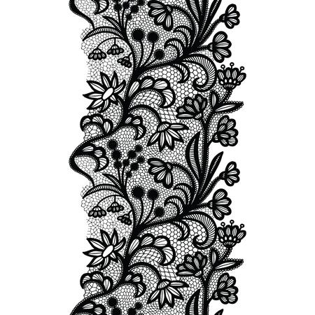 Black lacy vintage elegant trim. Vector illustration. Imagens - 127303805