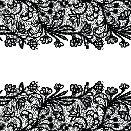 Seamless lace border. Vector illustration. Black lacy vintage elegant trim. Vektorové ilustrace