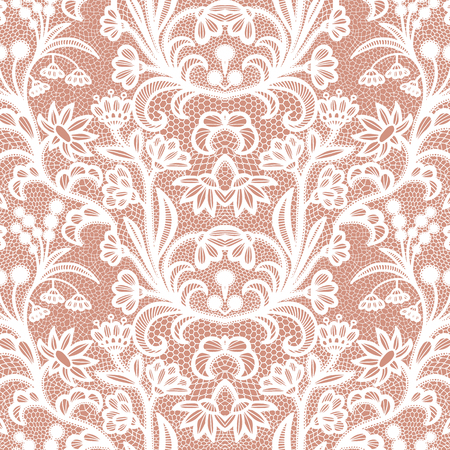Lace black seamless pattern with flowers on white background Imagens - 127288123