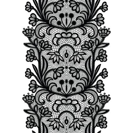 Black lacy vintage elegant trim. Vector illustration. Imagens - 127288133