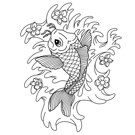 Koi carp. Traditional Japanese tattoo. Flash tattoo. Illustration to adult coloring book.