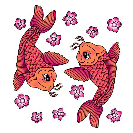 Koi carp. Traditional japonese tattoo. Vector illustration Imagens - 127249322