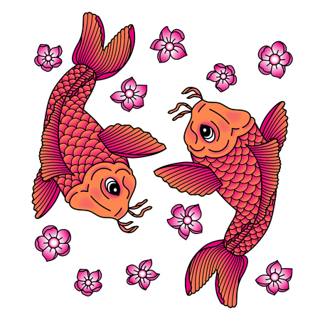 Koi carp. Traditional japonese tattoo. Vector illustration Illustration