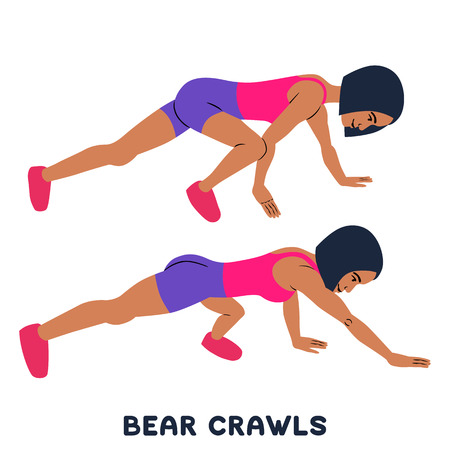 Bear crawls. Sport exersice. Silhouettes of woman doing exercise. Workout, training Vector illustration