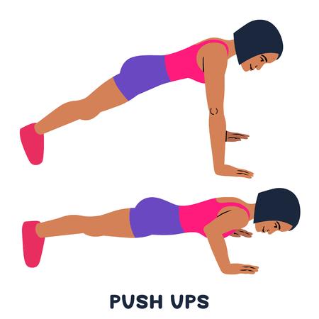 Lagartijas. Ejercicio deportivo. Siluetas de mujer haciendo ejercicio. Entrenamiento, entrenamiento.
