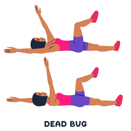 Dead bug. Sport exersice. Silhouettes of woman doing exercise. Workout, training Vector illustration