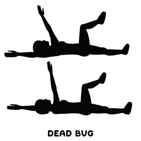 Dead bug. Sport exersice. Silhouettes of woman doing exercise. Workout, training Vector illustration Imagens - 127069903