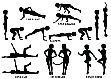 Bur pees, bear crawls, hip circles, dead bug, side plank, power skips. Sport exercise. Silhouettes of woman doing exercise. Workout, training. Illustration