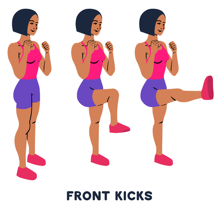 Front kicks. Sport exersice. Silhouettes of woman doing exercise. Workout, training Vector illustration